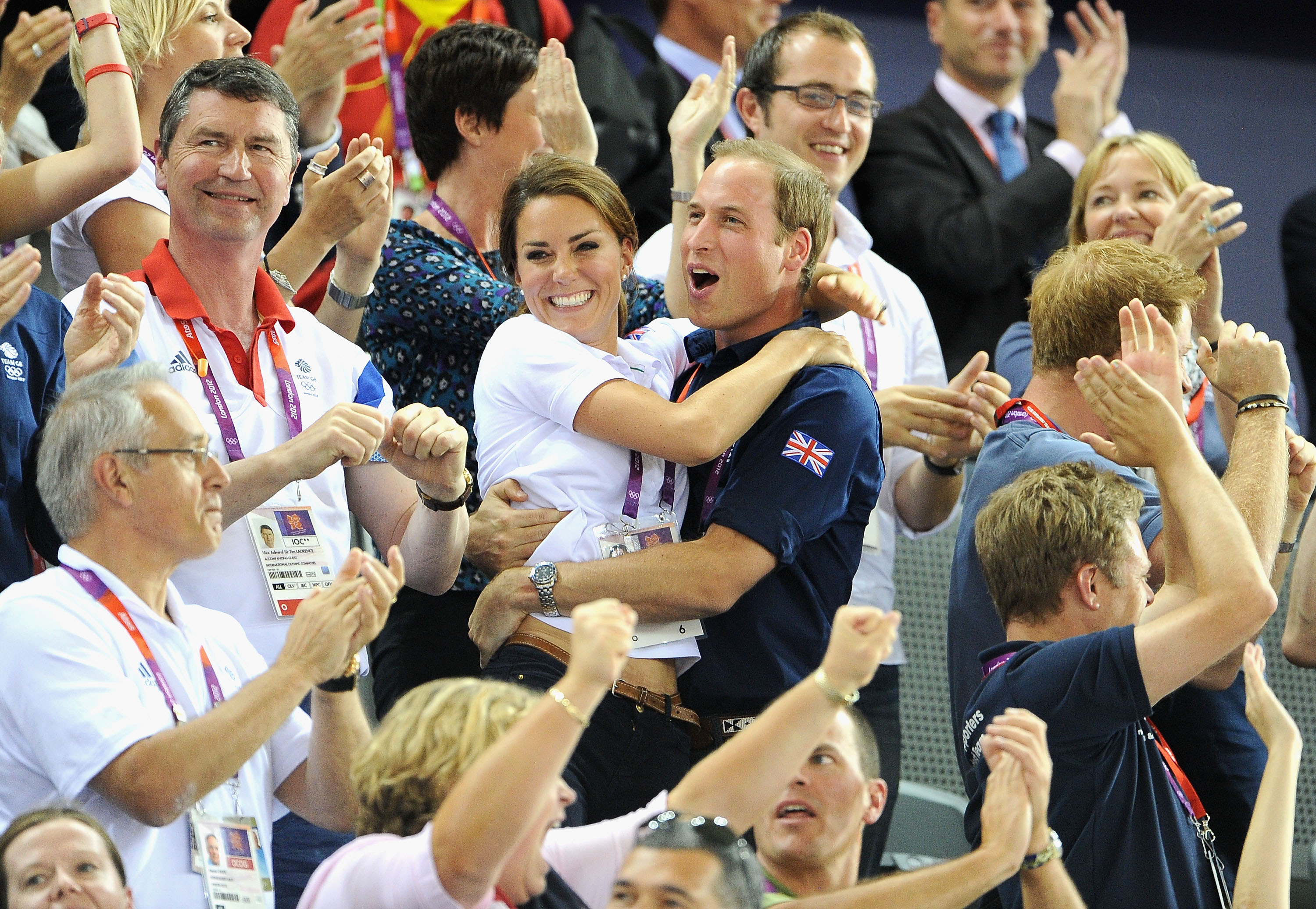 Kate Middleton Prince William hug 2012 Olympics cy