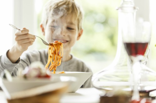 Boy with pasta