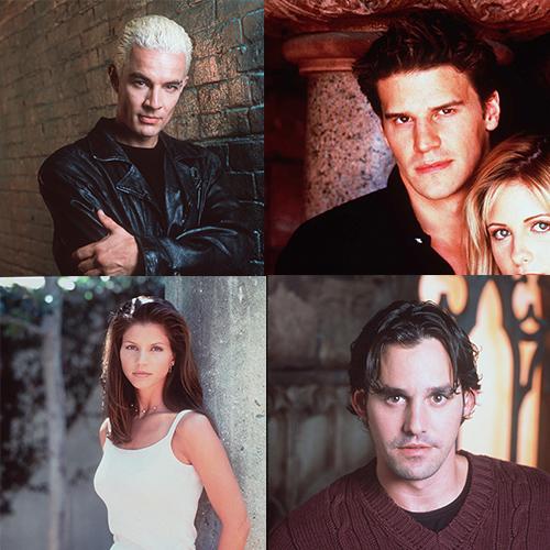 Spike, Angel, Cordelia and Xander Then