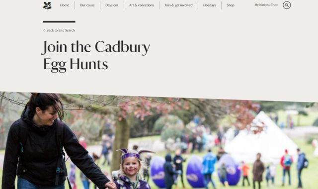 Cadbury National Trust Website Egg Hunt