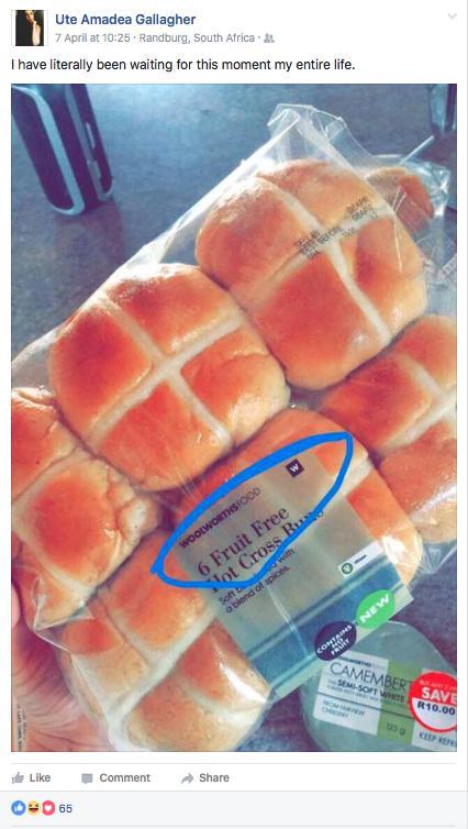 Fruit free hot cross buns