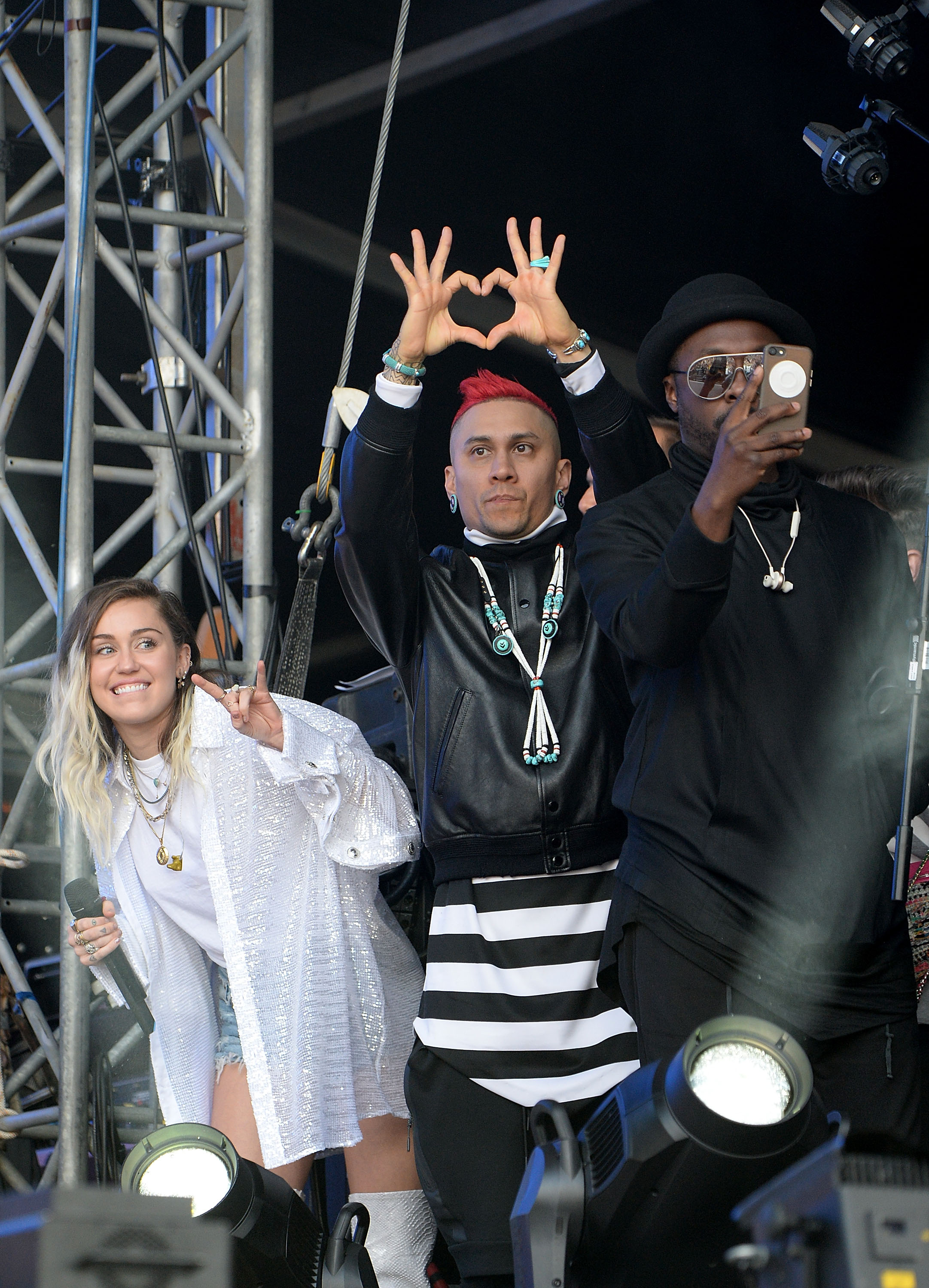 Miley Cyrus, Taboo and will.i.am of The Black Eyed
