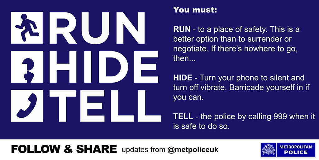 Run, Hide, Tell advice by Met Police