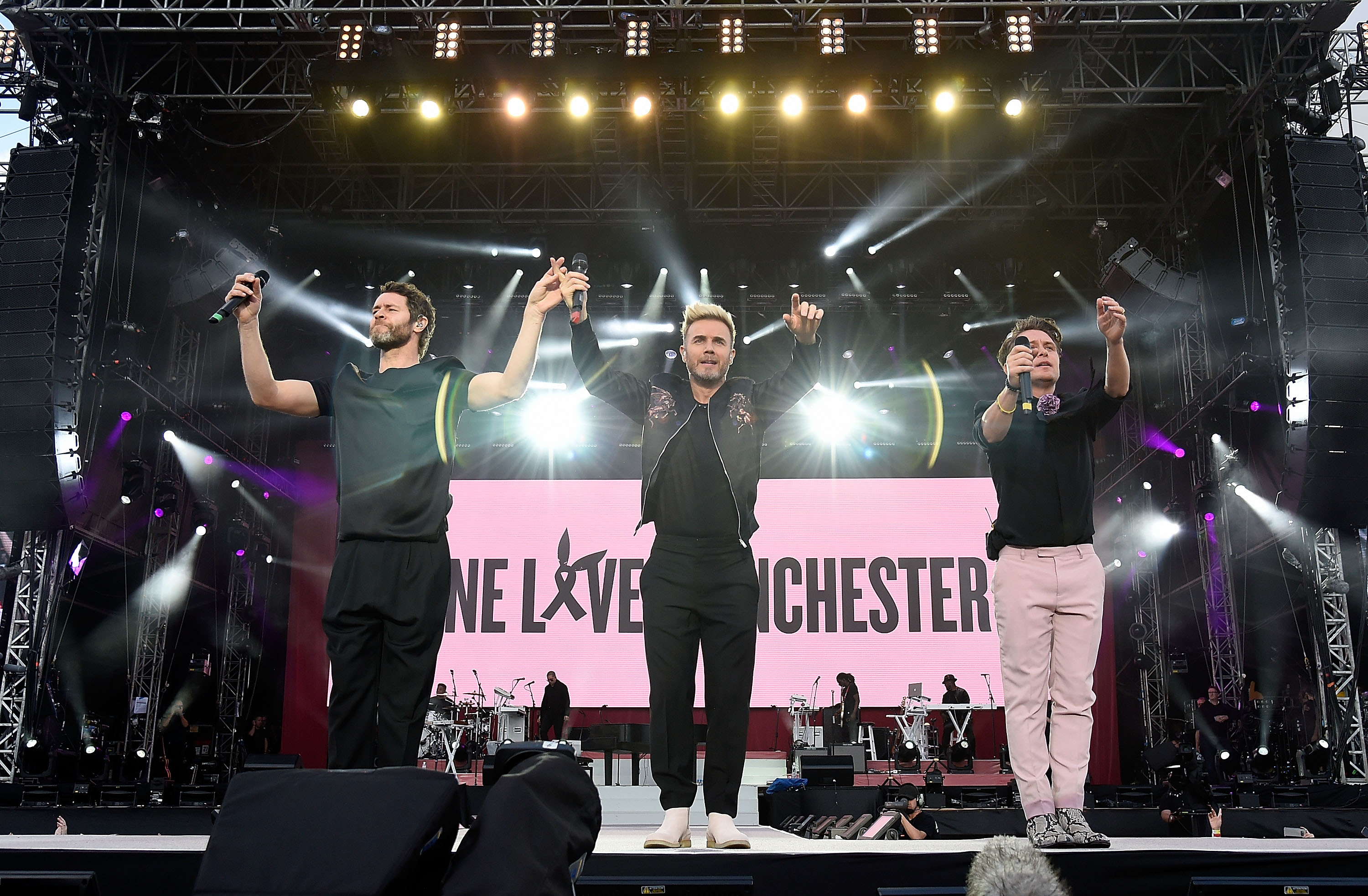Take That live during the One Love Manchester