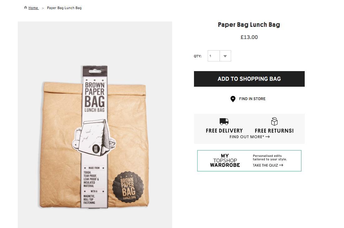 Topshop Brown Paper Bag