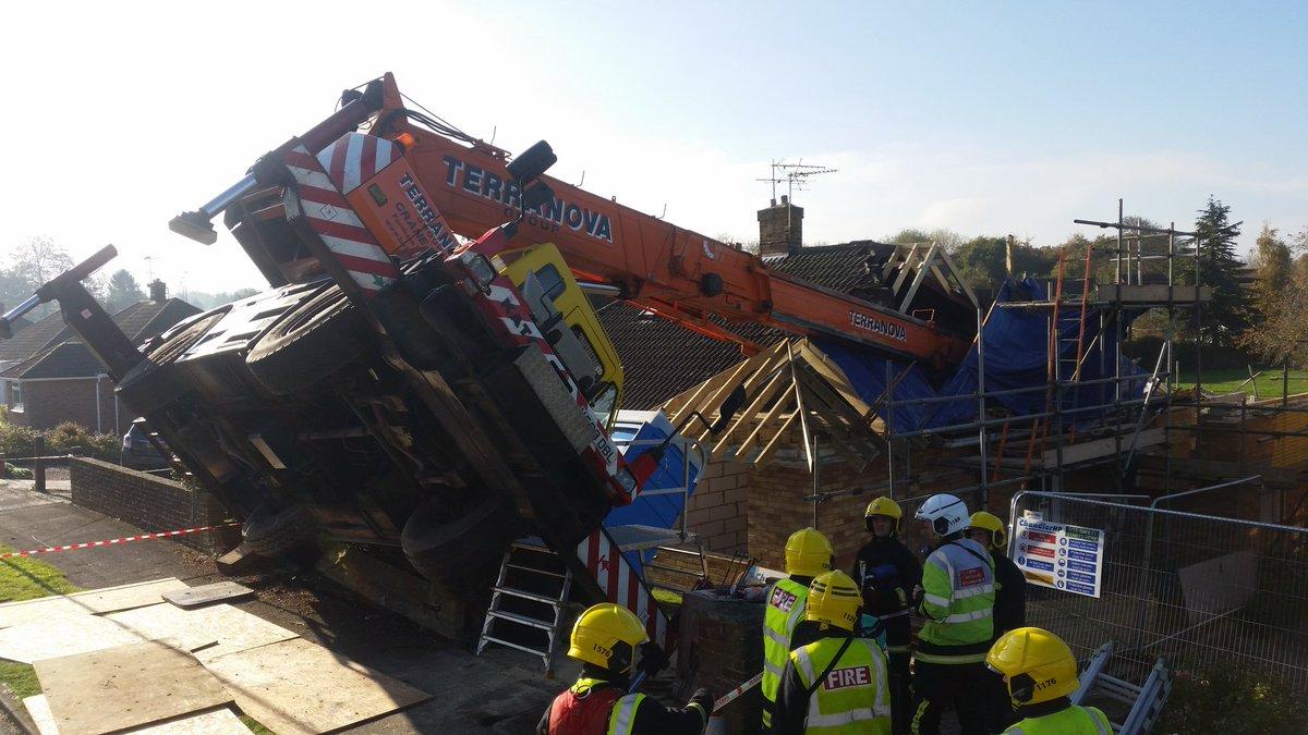 Crane topples in to a building in Basingstoke