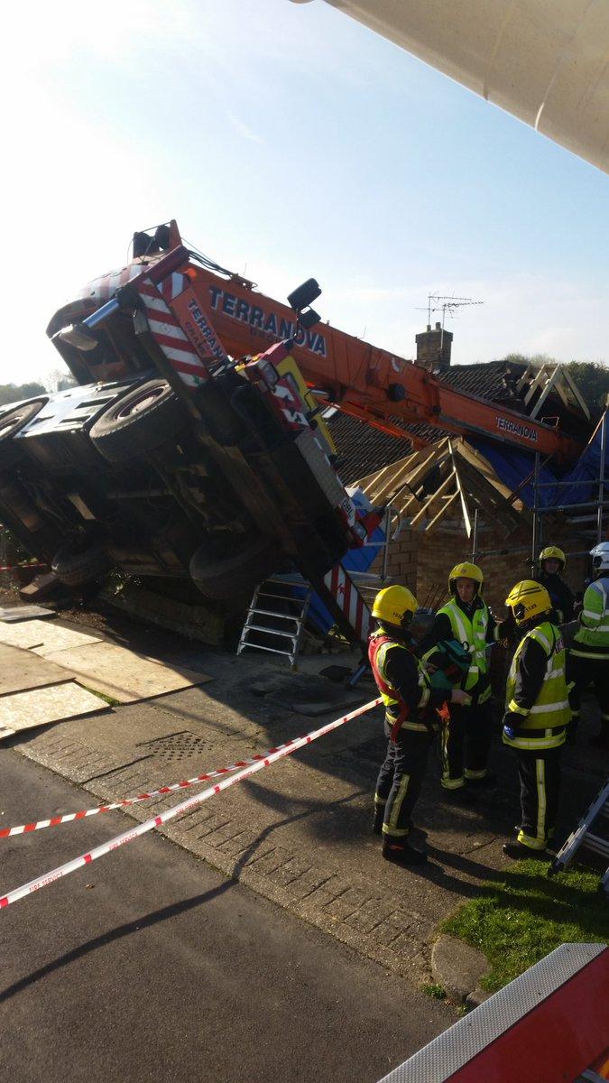 Crane falls on building in Basingstoke