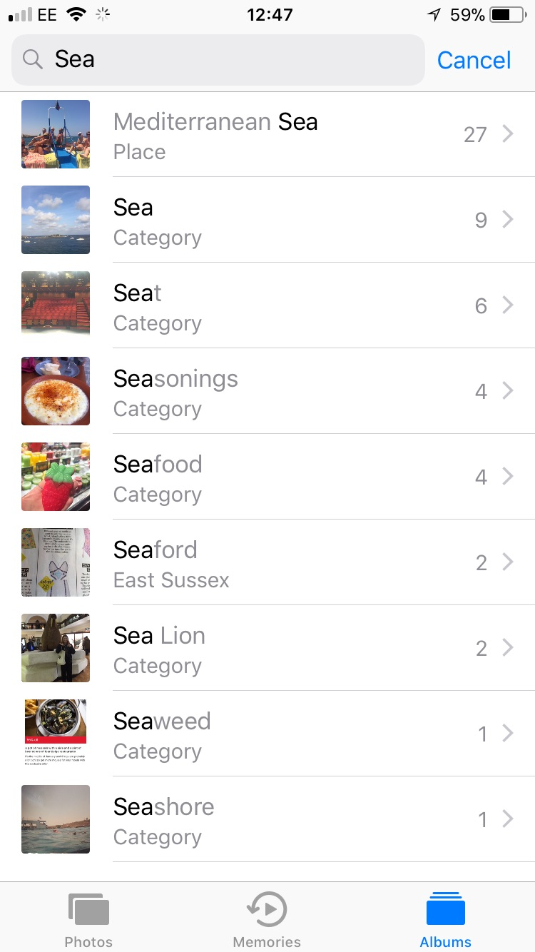 iPhone Camera Roll Search