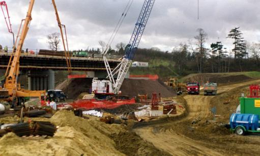 Construction work on a bridge at Harrietsham