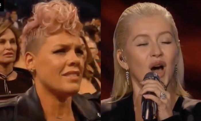 Pink reaction to Christina Aguilera performance