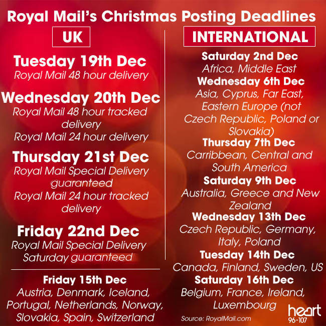 Royal Mail Christmas Post Deadlines CORRECTED