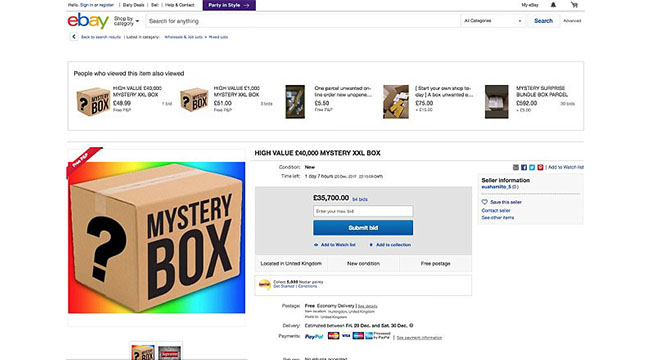 Mystery Box eBay Listing