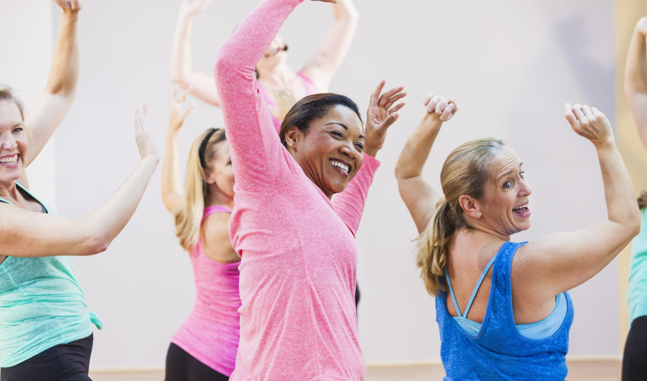 Ladies in an exercise class