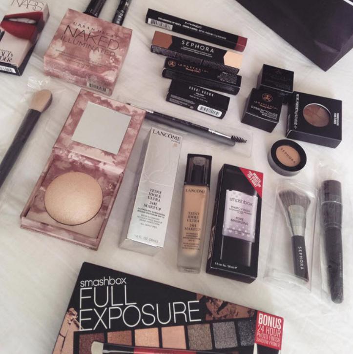 Posts on Instagram showed expensive make up