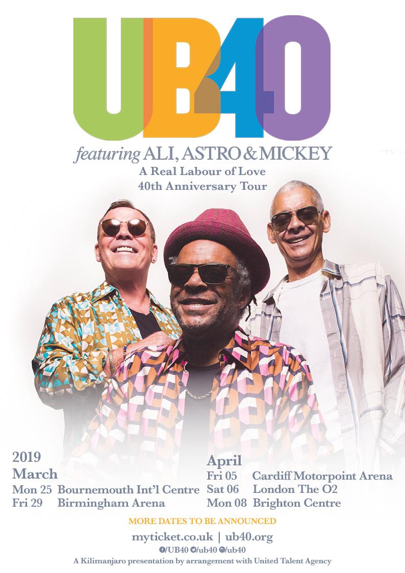 UB40 2019 Tour Poster