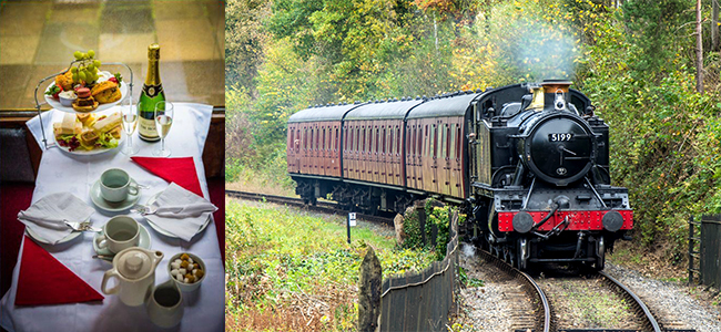 Steam train and afternoon tea