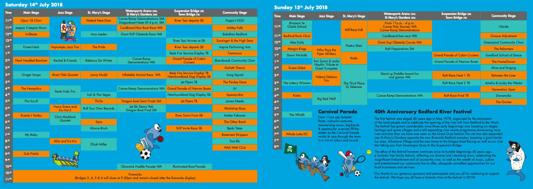 Bedford River Festival Events 2018