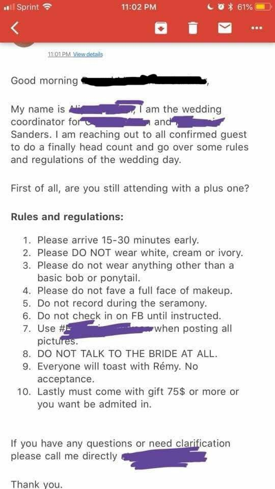 Bride's list of crazy demands