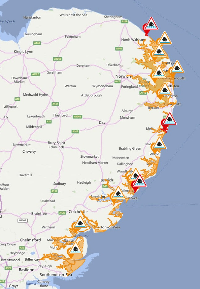 Flood warnings in East Anglia - 8th January 2019