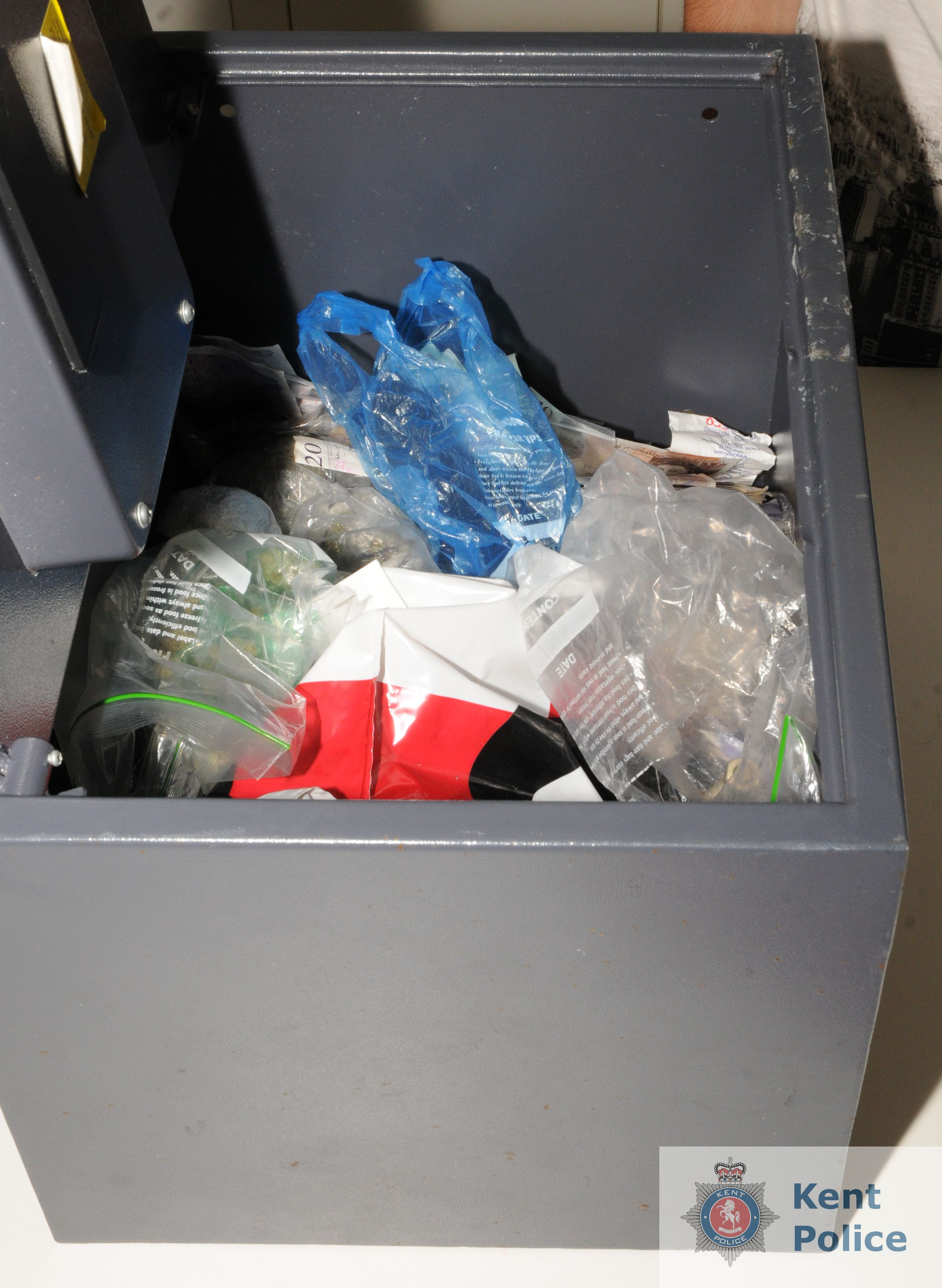 Bags of Class A drugs inside a safe in Kent