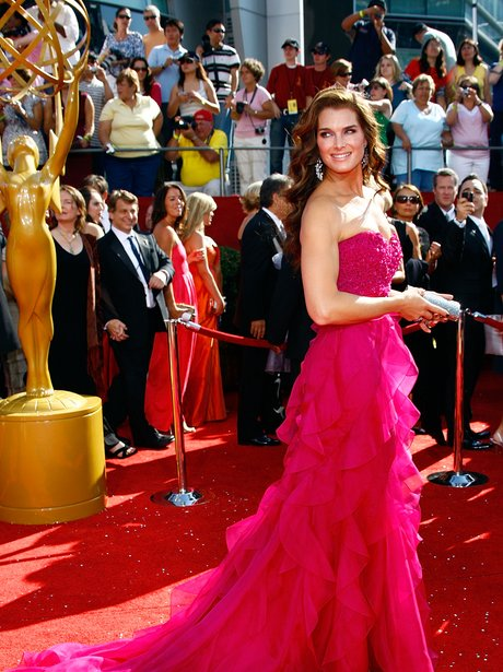Brooke Shields in a pink dress at Emmys