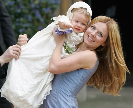 Singer Geri Halliwell poses with her daughter Bluebell