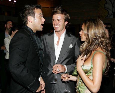 Robbie Williams, David Beckham and Victoria Beckha