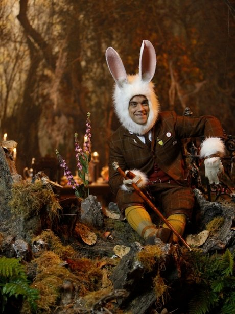 Robbie Williams in a bunny suit