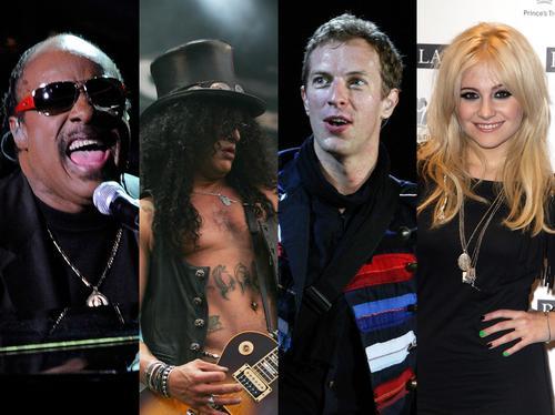 Stevie Wonder, Slash, Chris Martin, Pixie Lott