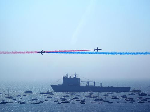 Red Arrows and Ship