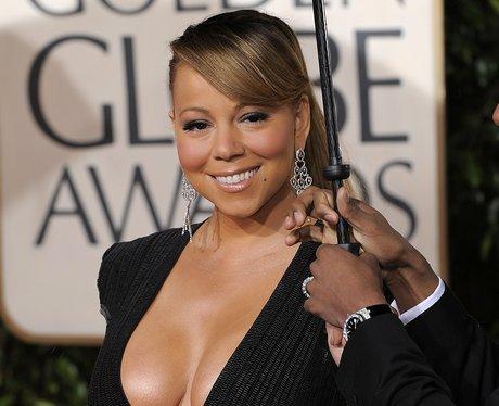 Mariah Carey in black dress at the Golden Globes 2010