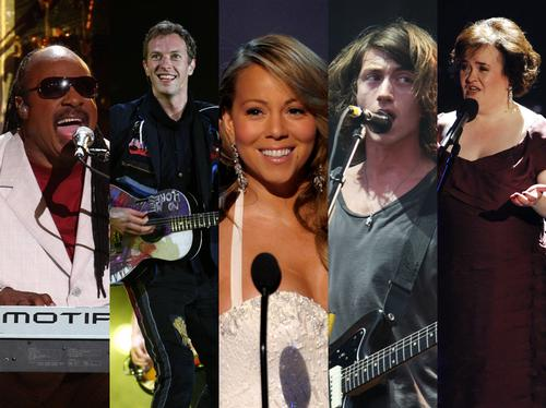 Stevie Wonder, Chris Martin, Mariah Carey, Alex Turner, Susan Boyle