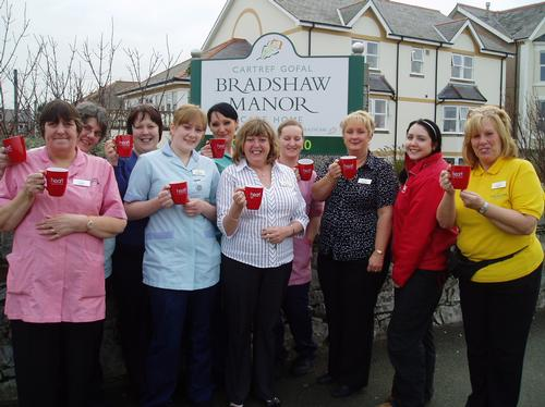 Staff from The Bradshaw Manor Nursing Home in Rhyl