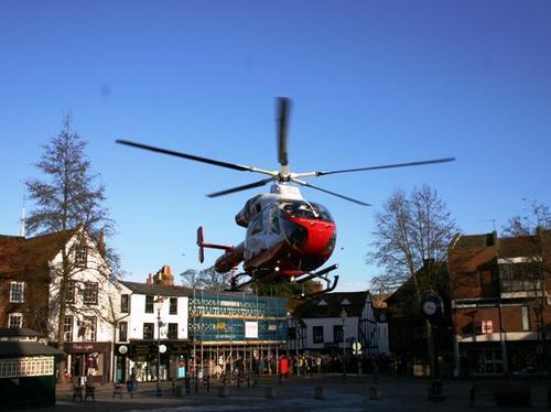 Herts Air Ambulance lands in Hitchin