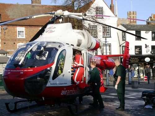 Herts Air Ambulance lands in Hitchin