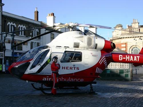 Herts Air Ambulance landing in Hitchin