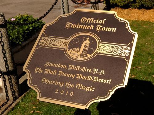 Disney twinned with Swindon plaque