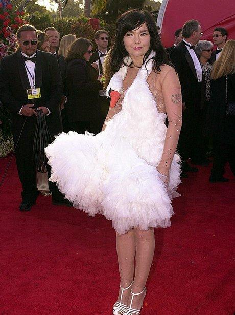 Bjork in swan dress at the Oscars