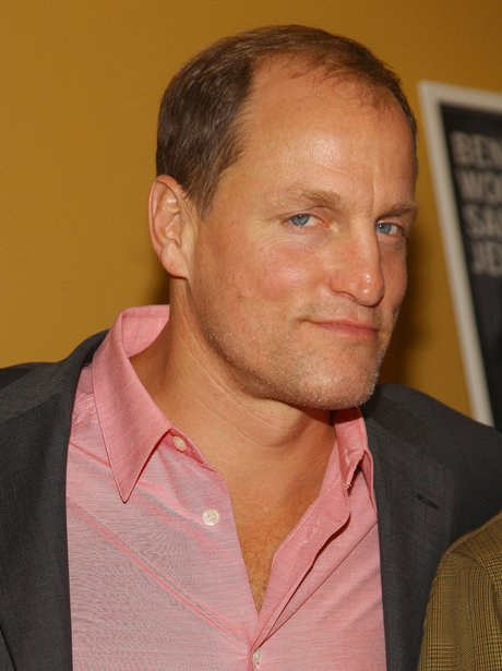 Woody Harrelson in a pink shirt