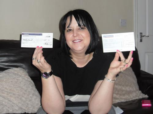 Liane shows off the cash she has raised for the Ha