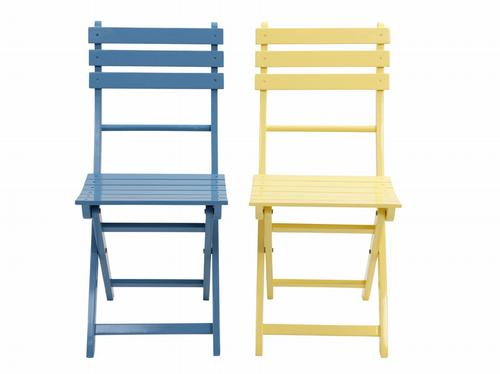 HomeSense pastel fold-up wooden chairs