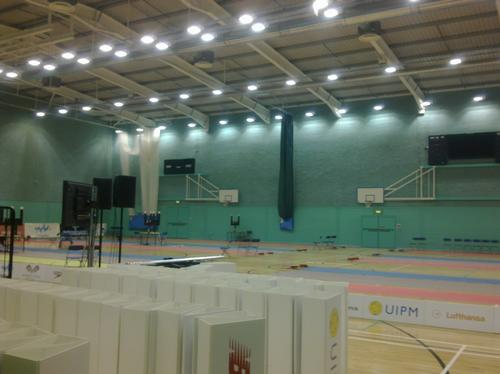 Sports Hall being prepared for Modern Pentathlon