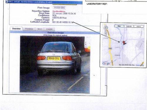 ANPR image of car