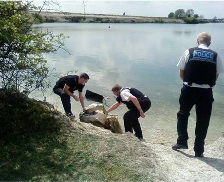 Officers with package at Blue Lagoon
