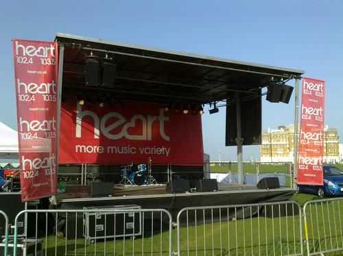 The fully set up Heart Feelgood Stage on Hove Lawn