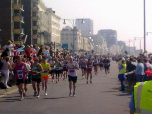 Marathon runners on Hove seafront
