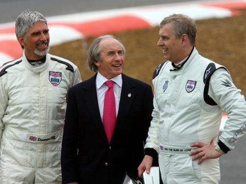 Damon Hill and the Duke of York with Sir Jackie