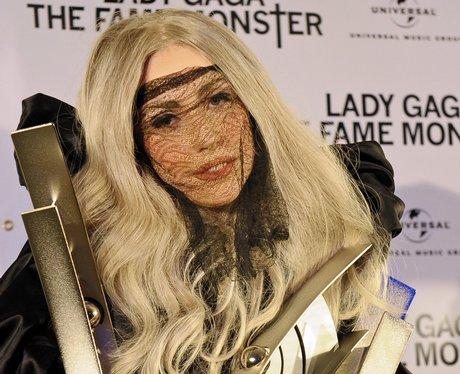 Lady Gaga with blonde hair and black veil