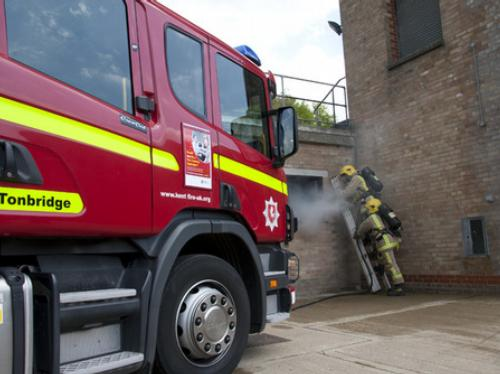 Kent firefighters at new training facilities