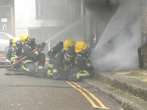 Firefighters tackle town centre fire